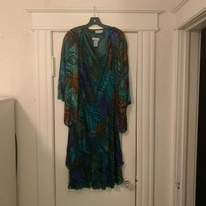 Vintage Simply Silk Dress and Matching Shall L